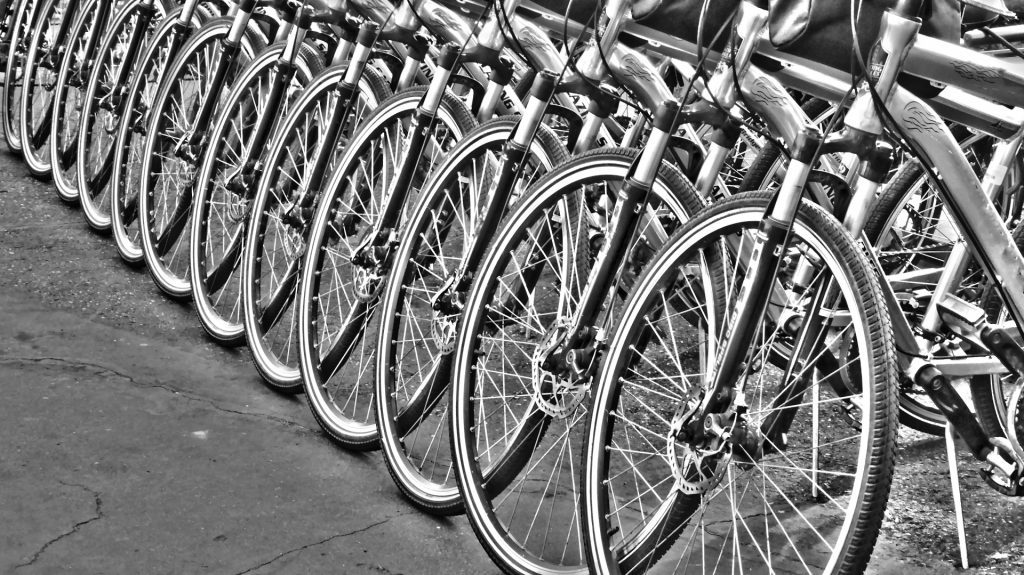 row-of-bicycles